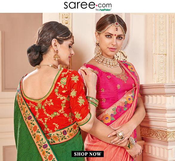 Bridesmaids in Green and Pink Saree