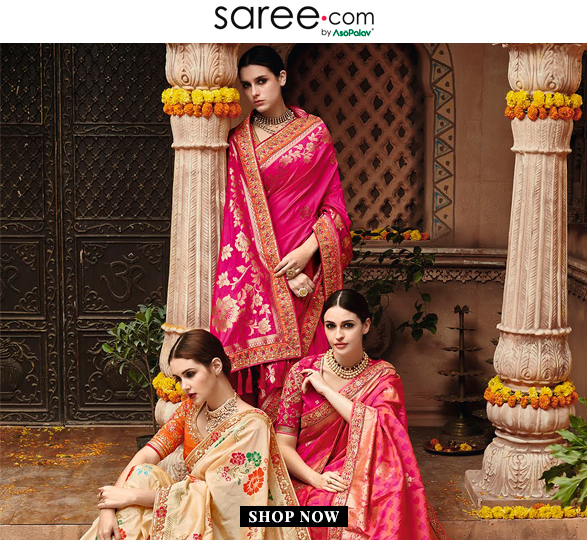 Bridesmaids in Pink and Cream Saree