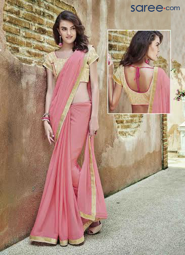 2c391fe70e9bf PINK GEORGETTE SAREE WITH ZARI EMBROIDERY WORK - saree.com