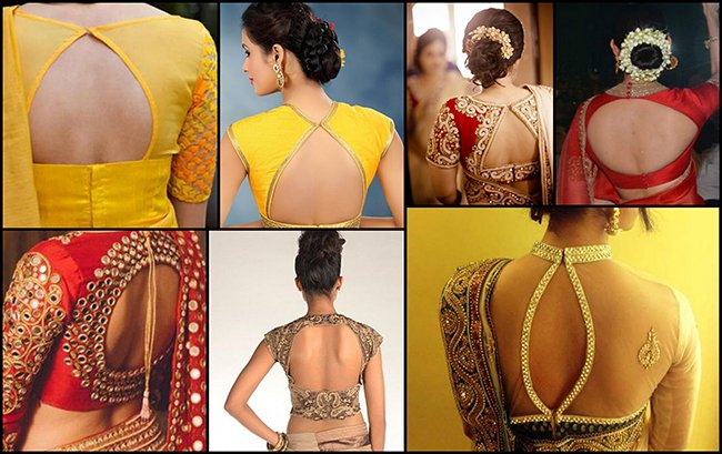 win the window style latest saree blouse back designs with key