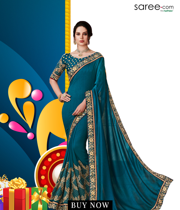 Teal Blue Silk Saree