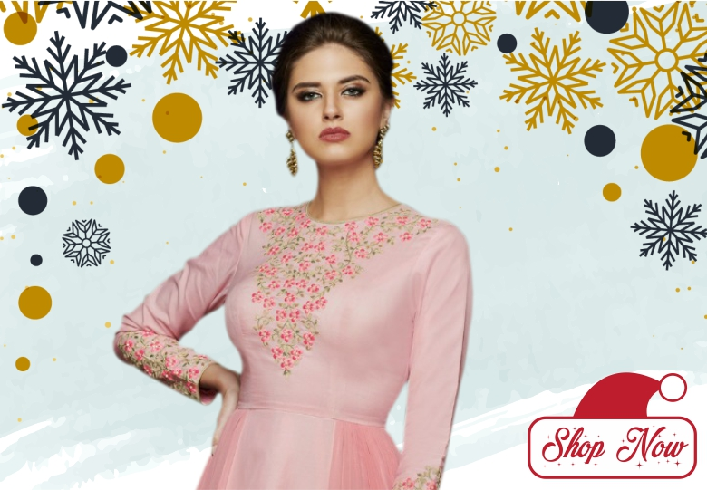 Baby Pink Satin silk Designer Gown with Resham Embroidery