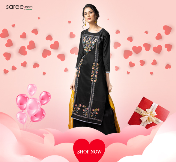 Black Chanderi Designer Suit with Resham Embroidery