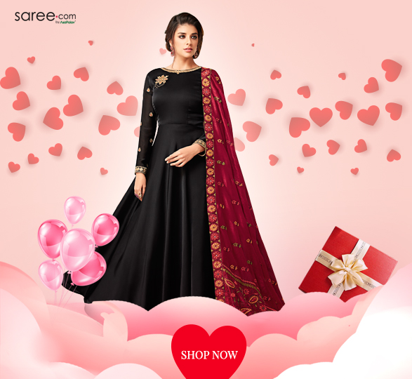 Black Satin Georgette Designer Suit with Zari Embroidery