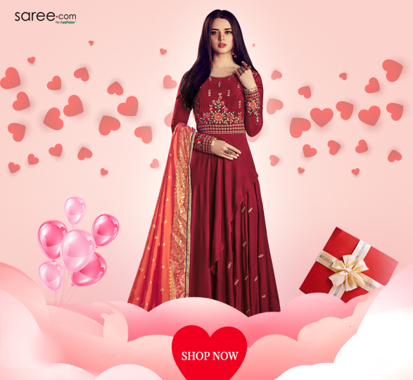 Dark Red Rayon Designer Anarkali Suit with Resham Embroidery