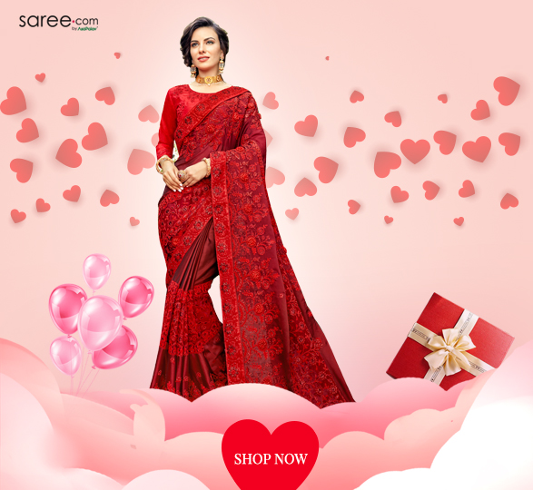 Red Satin Silk Designer Saree with Thread Embroidery