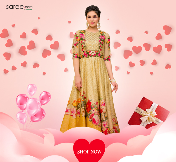 Yellow and Beige Banarasi Silk Mughal Art Inspired Digital Floral Print Ethnic Gown