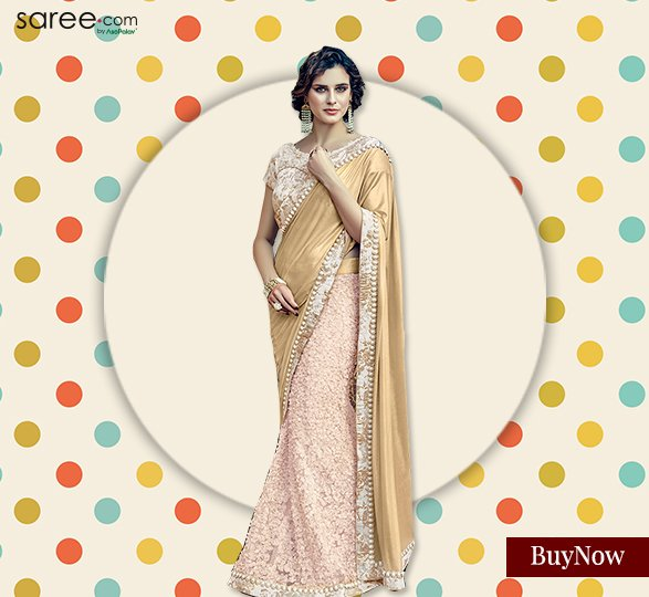 Pink and Golden Lehenga Saree