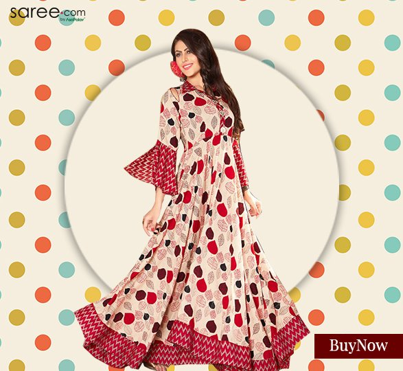 Red and Cream Polka dot Kurti