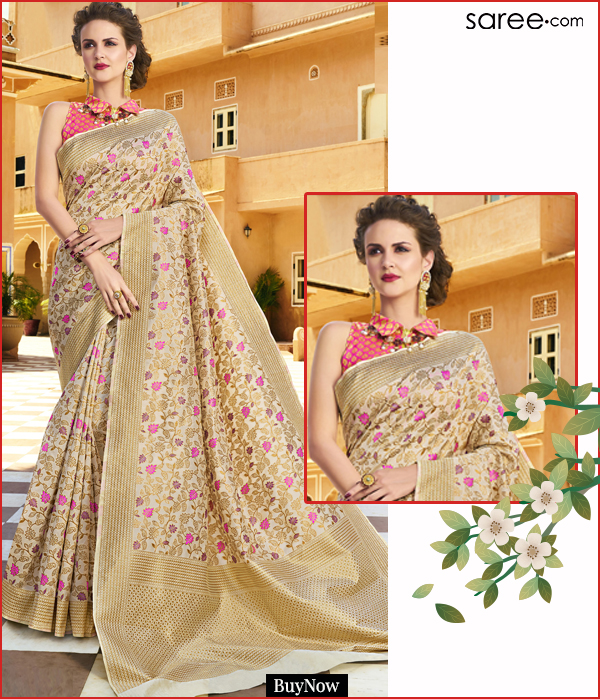 Beige Silk Designer Saree with Zari Woven Floral Jaal
