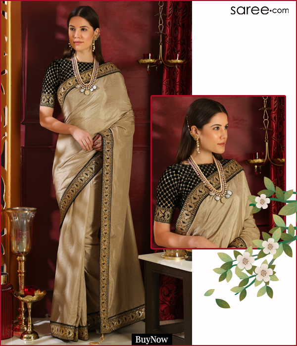 Beige Silk Plain Saree with Designer Blouse