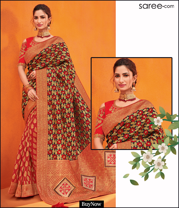 Black and Red Silk Woven Half and Half Saree