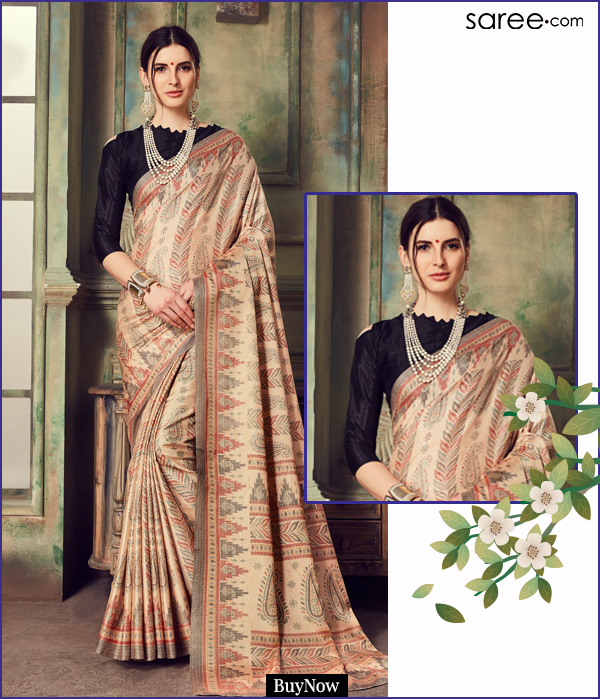 Cream and Black Art Silk Printed Saree