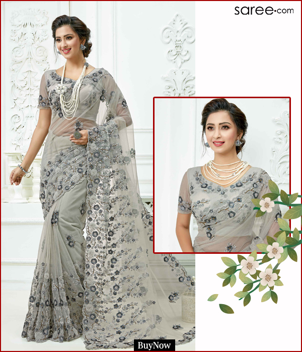Grey Net Saree with Resham Embroidery
