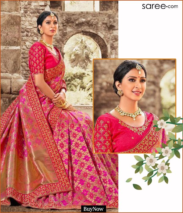 Pink Banarasi Silk Traditional Zari Woven Saree with Embroidery