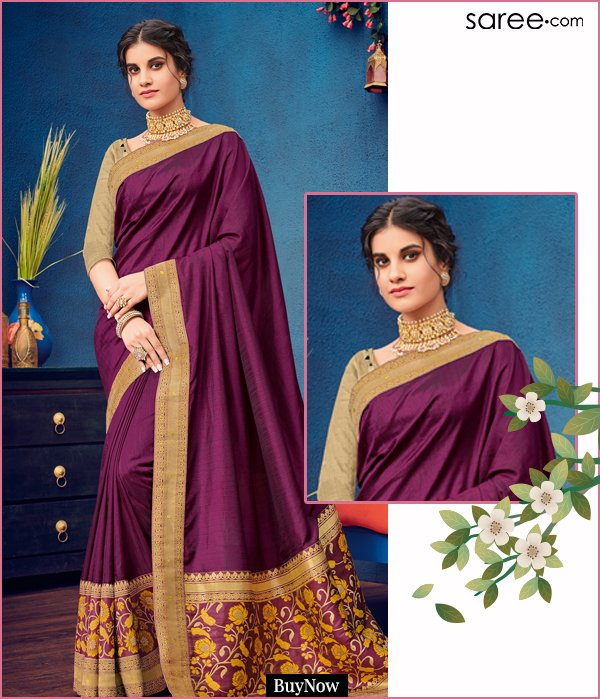 Purple Two Toned Silk Saree with Floral Weaving