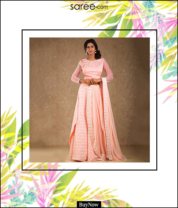 Light Pink Silk Lehenga Choli with Attched Duptta