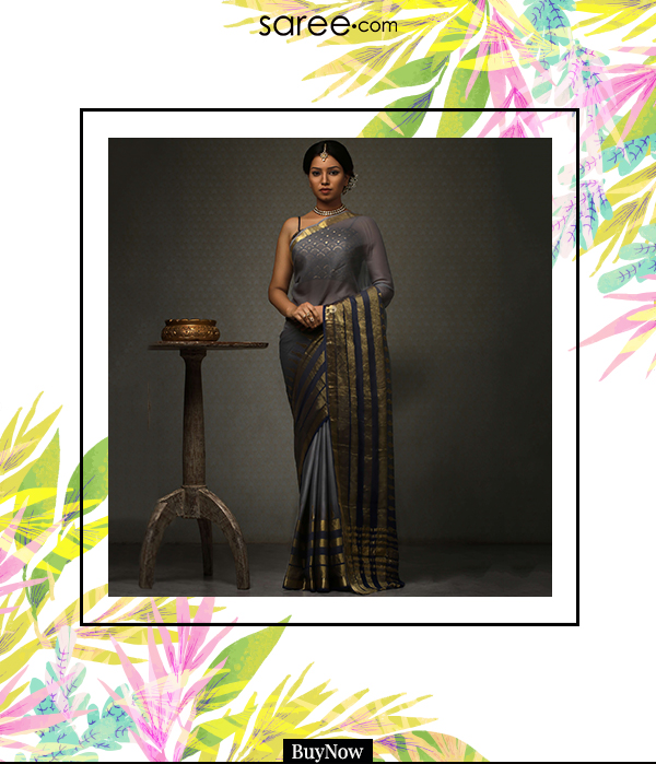 Grey and Blue Mysore Georgette Saree