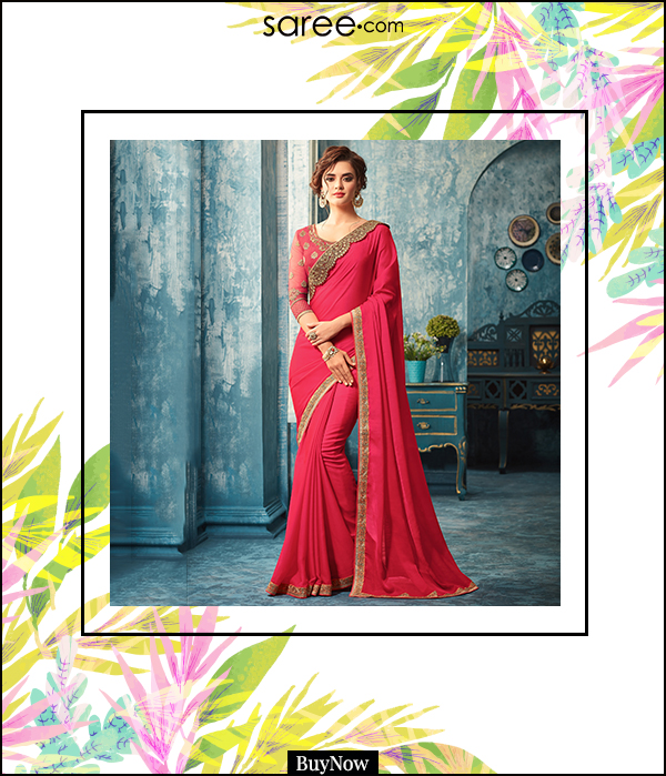 Dark Pink Chiffon Saree with Lace