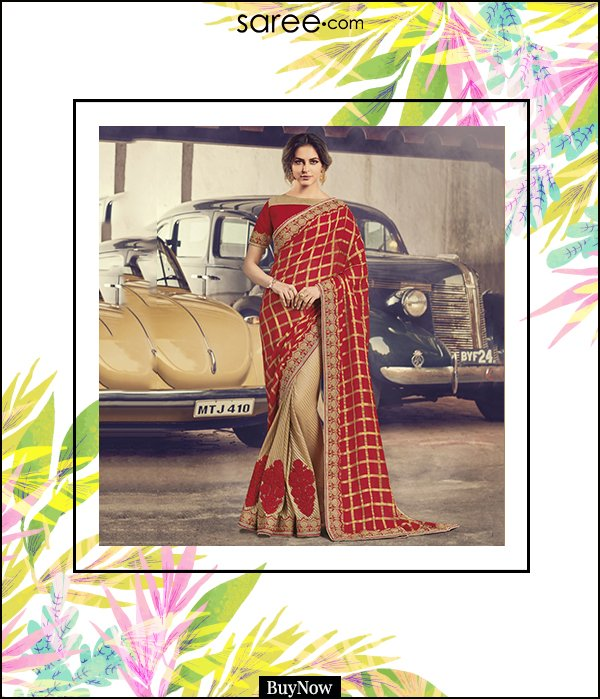 Red and Cream Chiffon Half and Half Saree