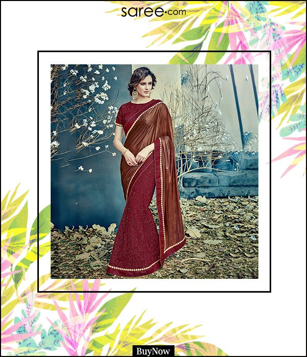 7 Maroon and Copper Brown Net Lehenga Saree