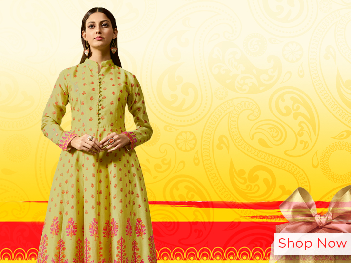 Pista Green Chanderi Printed Floor Length Kurti with High Neck