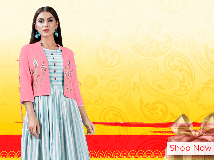 Sky Blue Cotton Kurti with Embroidered Jacket