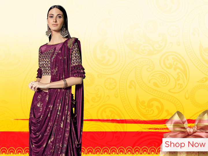 Wine Purple Lycra Designer Saree with Embroidered Brooch