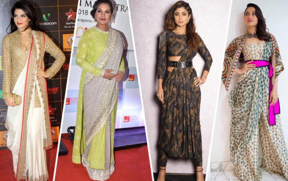 celebrity saree with modern twist