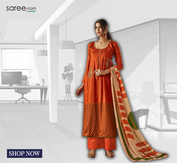 Dark Orange Cotton Suit with Thread Embroidery