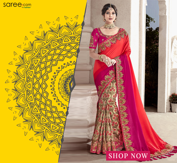 Beige and Orange Silk Floral Woven Half and Half Saree with Embroidered Border