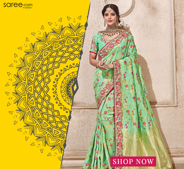 Mint Green Silk Designer Saree with Zari Woven Floral Jaal