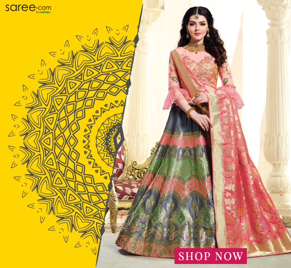 Multi Colored Jacquard Silk Designer Lehenga Choli with Zari Weaving
