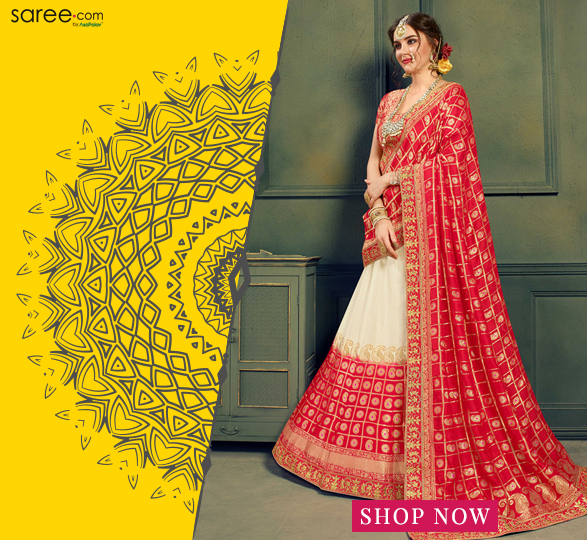 Off White and Red Banarasi Jacquard Silk Bridal Lehenga Choli with Checks Woven Dupatta
