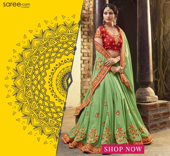 Paris Green Crepe Silk Saree With Zari Embroidery