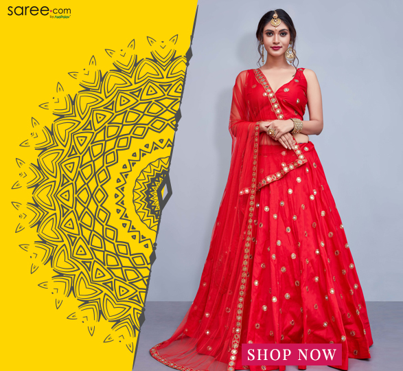 Red Taffeta Silk Designer Lehenga Choli With Mirror Work