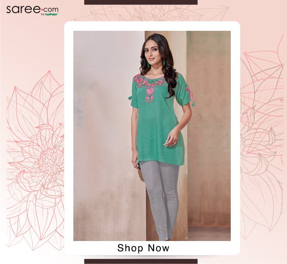 Green Rayon Tunic With Embroidery