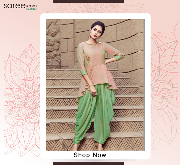 Peach and Green Two Toned Silk Indo Western Dhoti Suit