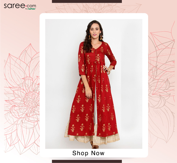 Red Cotton Open Front Slit Kurti