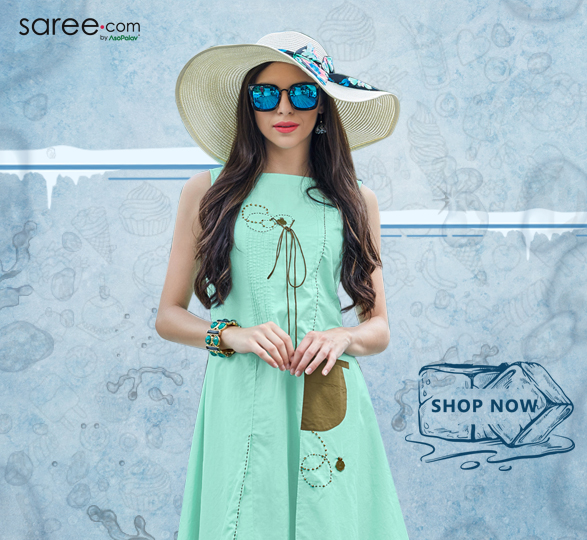 Aqua Blue Cotton Double Layer Kurti