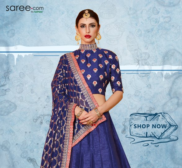 Blue Art Silk Lehenga Choli with Zari Embroidery
