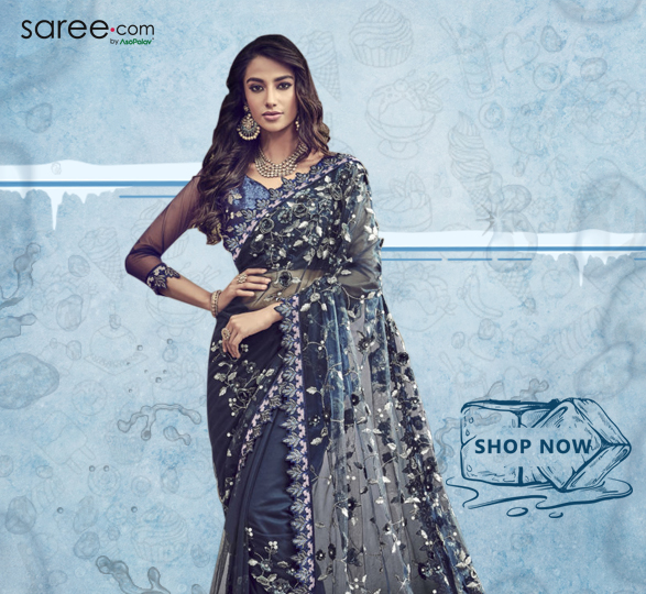 Navy Blue Net Designer Saree with 3D Flowers