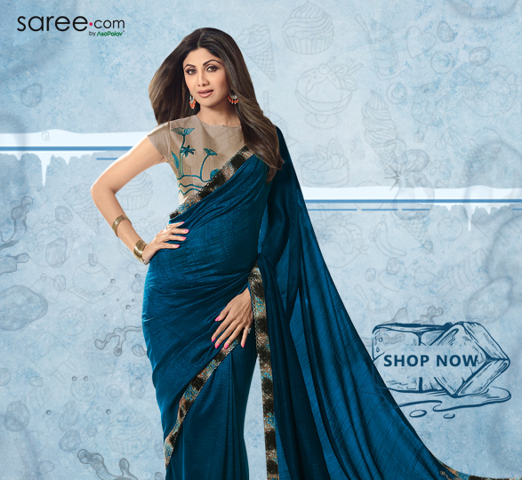 Shilpa Shetty Dark Peacock Blue Georgette Silk Saree with Embroidered Lace