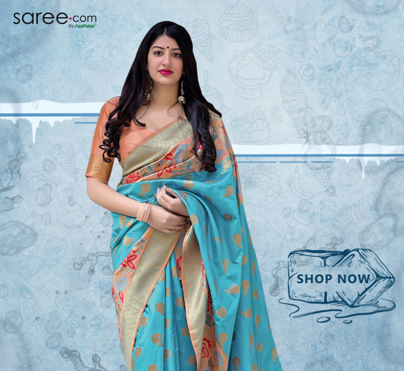 Sky Blue Silk Saree with Weaving