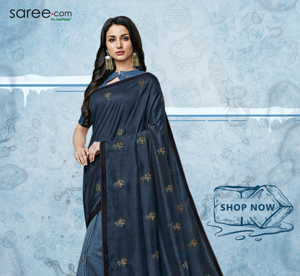 Steel Blue and Prussian Blue Tussar Silk Saree with Digital Print
