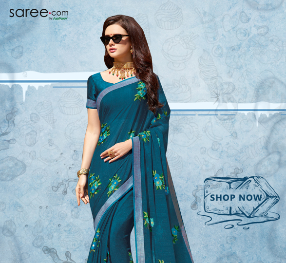 Teal Blue Chiffon Saree with Embroidery