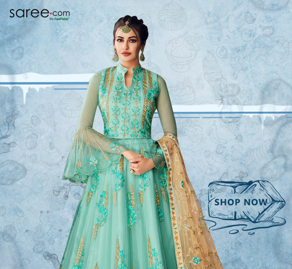 Turquoise Green Net Resham Embroidered Designer Anarkali Suit
