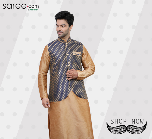 Beige Art Silk Kurta Pajama with Jacquard Jacket