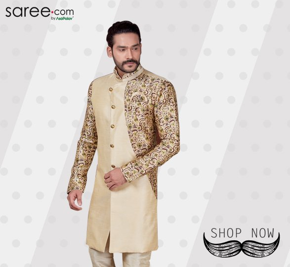 Cream Silk Half Floral Printed Sherwani with Chudidar
