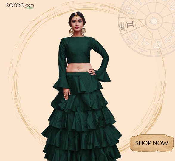 Dark Green Taffeta Silk Frilled Lehenga Choli